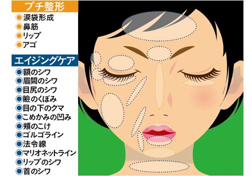 顔に施す注入治療は〝プチ整形〟と〝エイジングケア〟の2パターンが基本