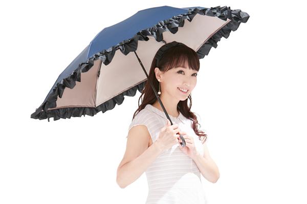 mikifille(ミキフィーユ)白川みきのおリボンUVカット涼感折りたたみ日傘(ネイビー)
