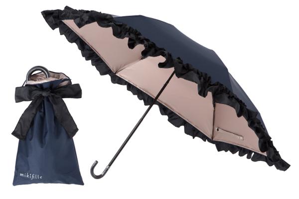 【PICK UP! 夏肌対策グッズ】mikifille(ミキフィーユ)白川みきのおリボンUVカット涼感折りたたみ日傘(ネイビー)
